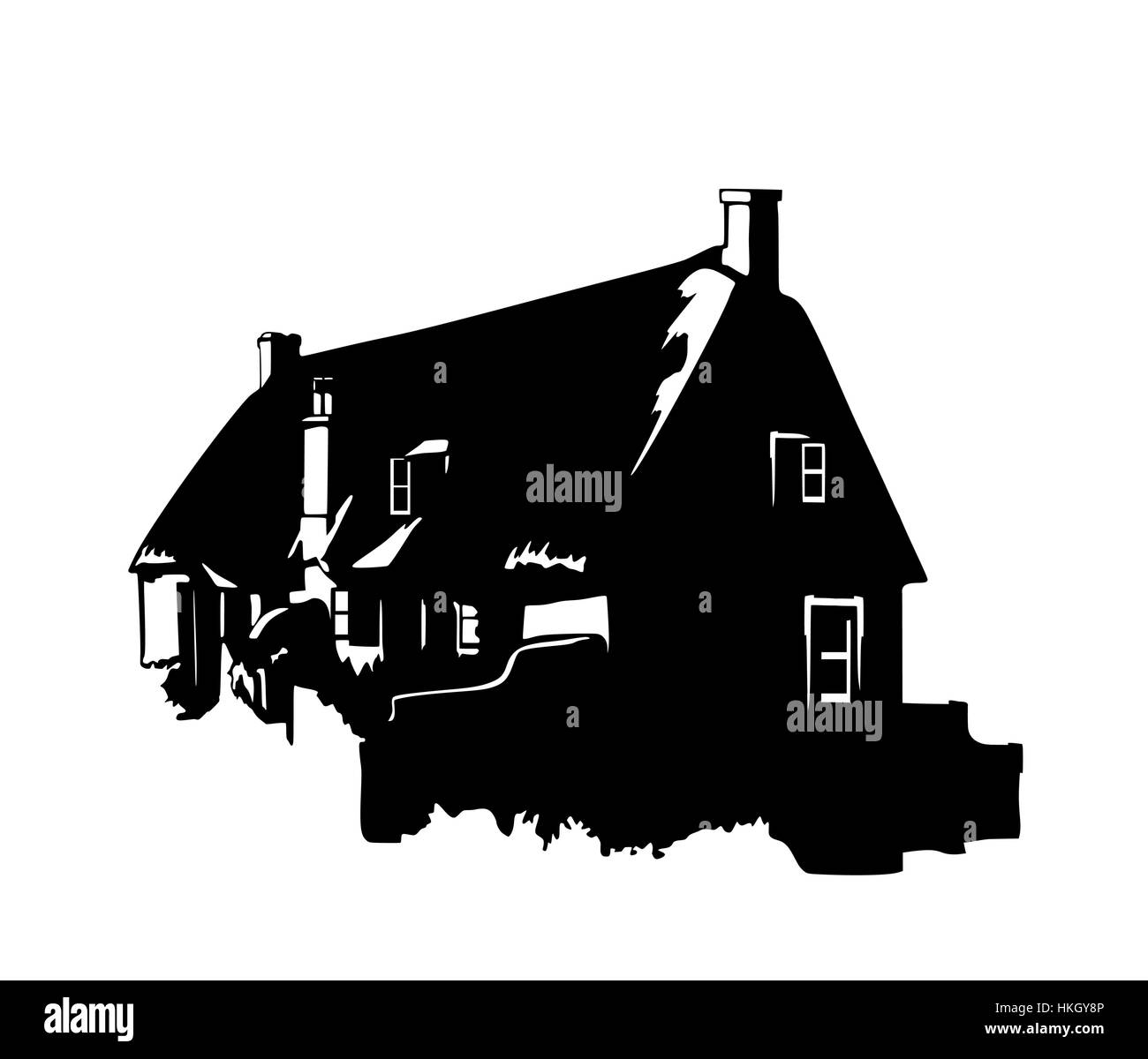 Vector silhouette of a vintage English rural house - Stock Vector