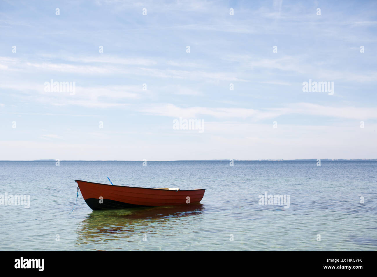 boat on sea. ocean, horizon, nautical vessel, nature. - Stock Image
