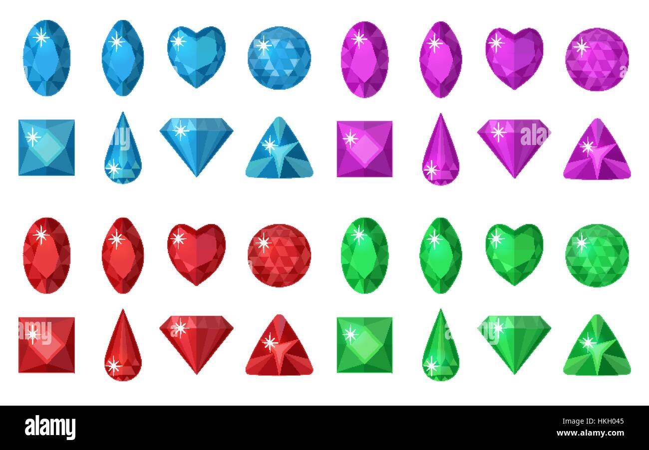 Multi-colored gems set. Jewelry, crystals collection isolated on white background. Diamonds  different  cut. Colorful - Stock Vector