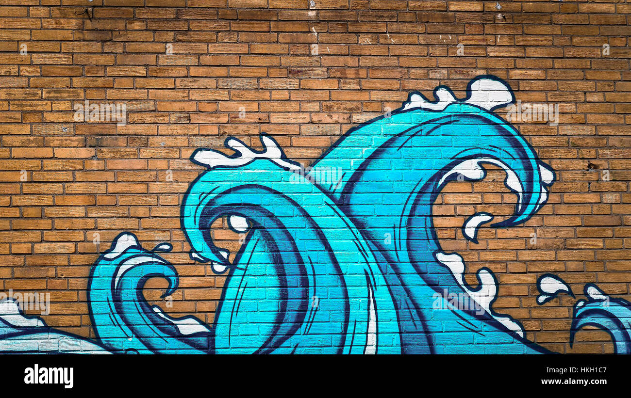 a cool wave graffiti on a brick wall stock photo 132525351 alamy. Black Bedroom Furniture Sets. Home Design Ideas