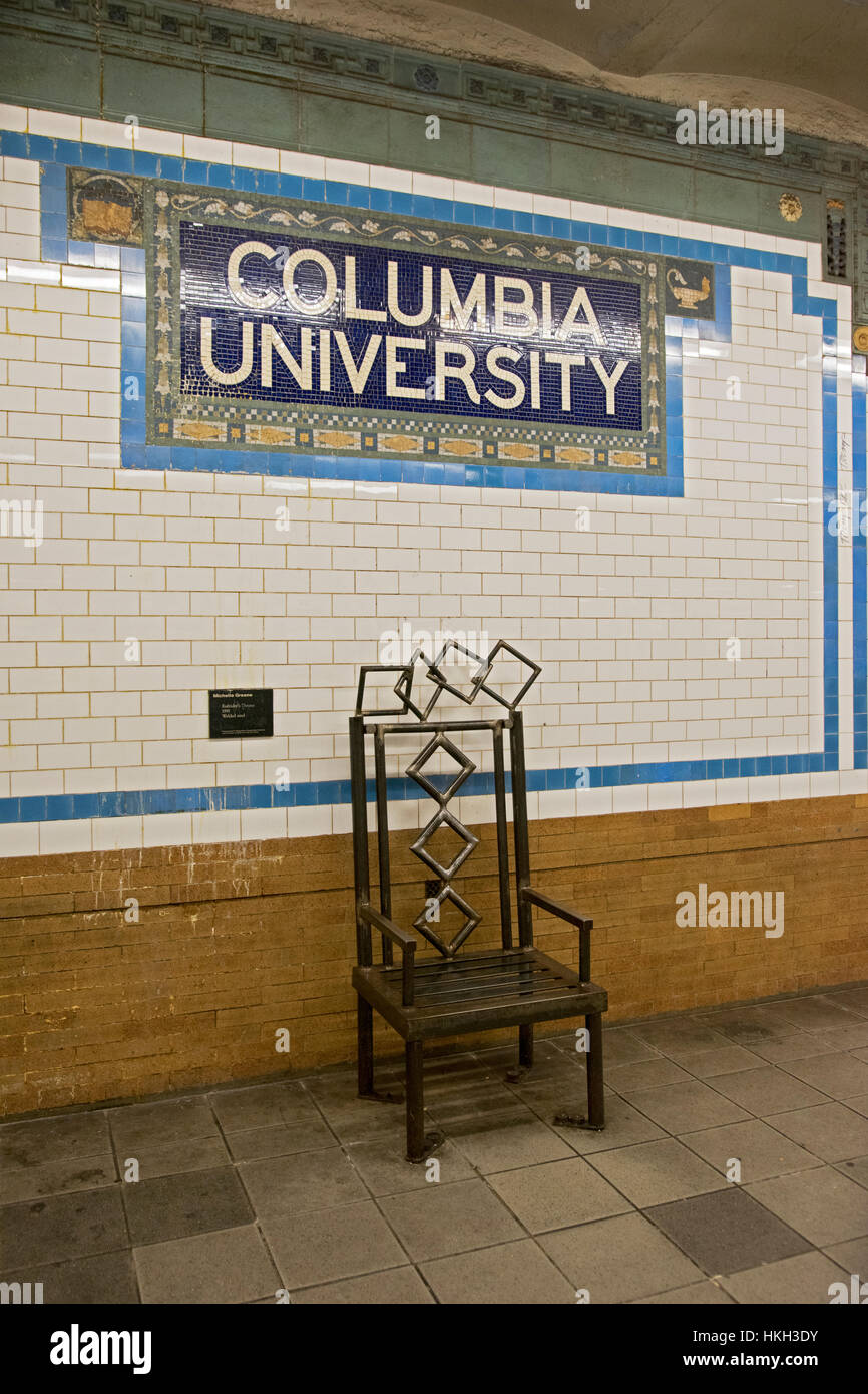 An Oversized Steel Chair On The 116th Street Columbia University Subway  Stop On The Upper West Side Of Manhattan, New York City.