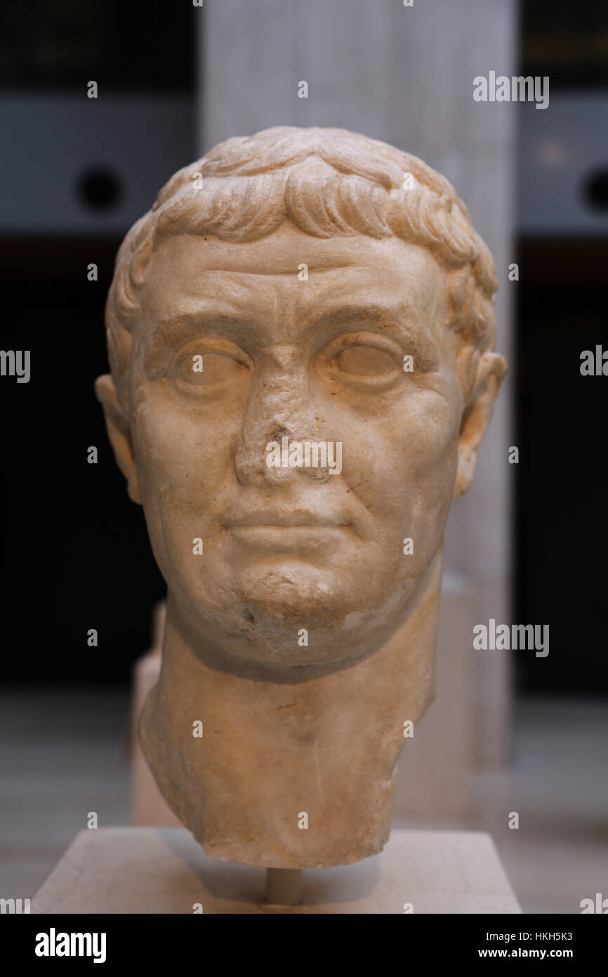 Marcus Antonius (83-30 BC). Roman politician and general. Roman Republic. Bust. Marble. 42-31 BC. Spain. - Stock Image