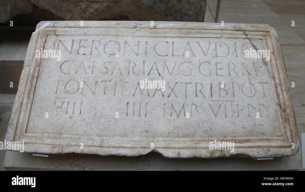 Stone plaque dedicated to Nero. Marble. 61-62. Augusta Emerita (Merida). Spain. - Stock Image