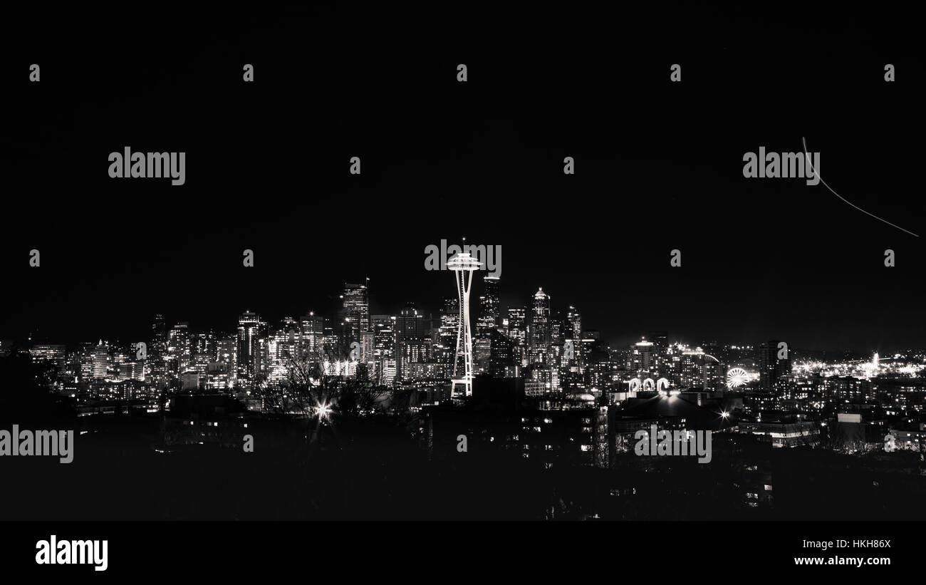 Seattle Skyline with Space Needle at Night - Monochrome 16:9 from Kerry Park - Stock Image