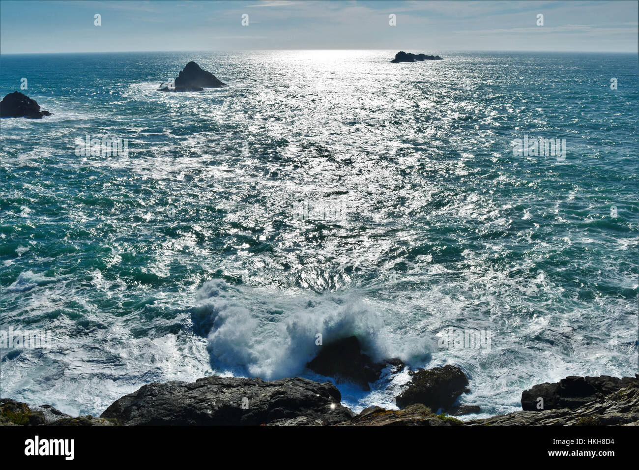Crashing waves, Cornwall - Stock Image