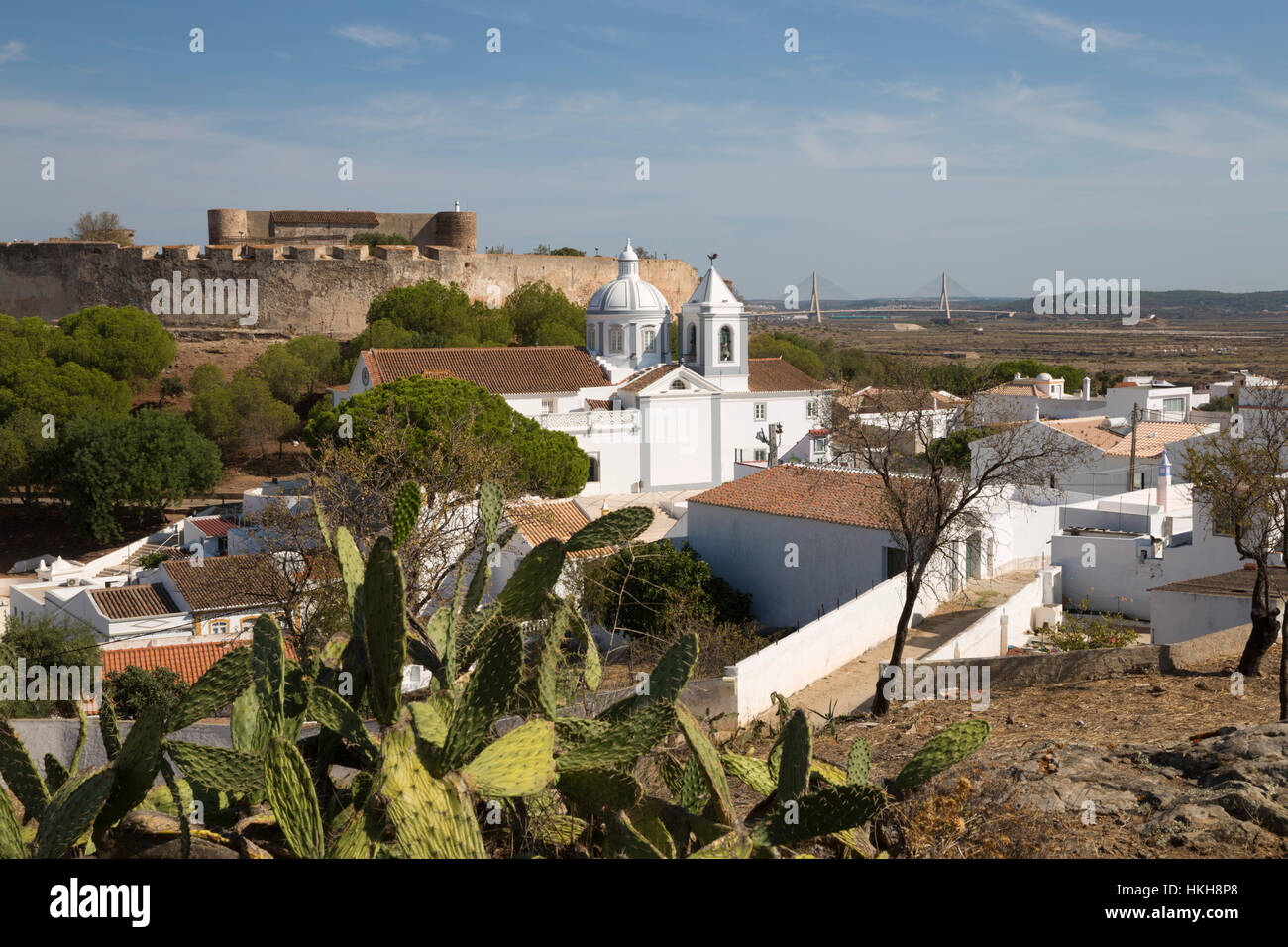 View over white town and 13th century castle, Castro Marim, Algarve, Portugal, Europe - Stock Image
