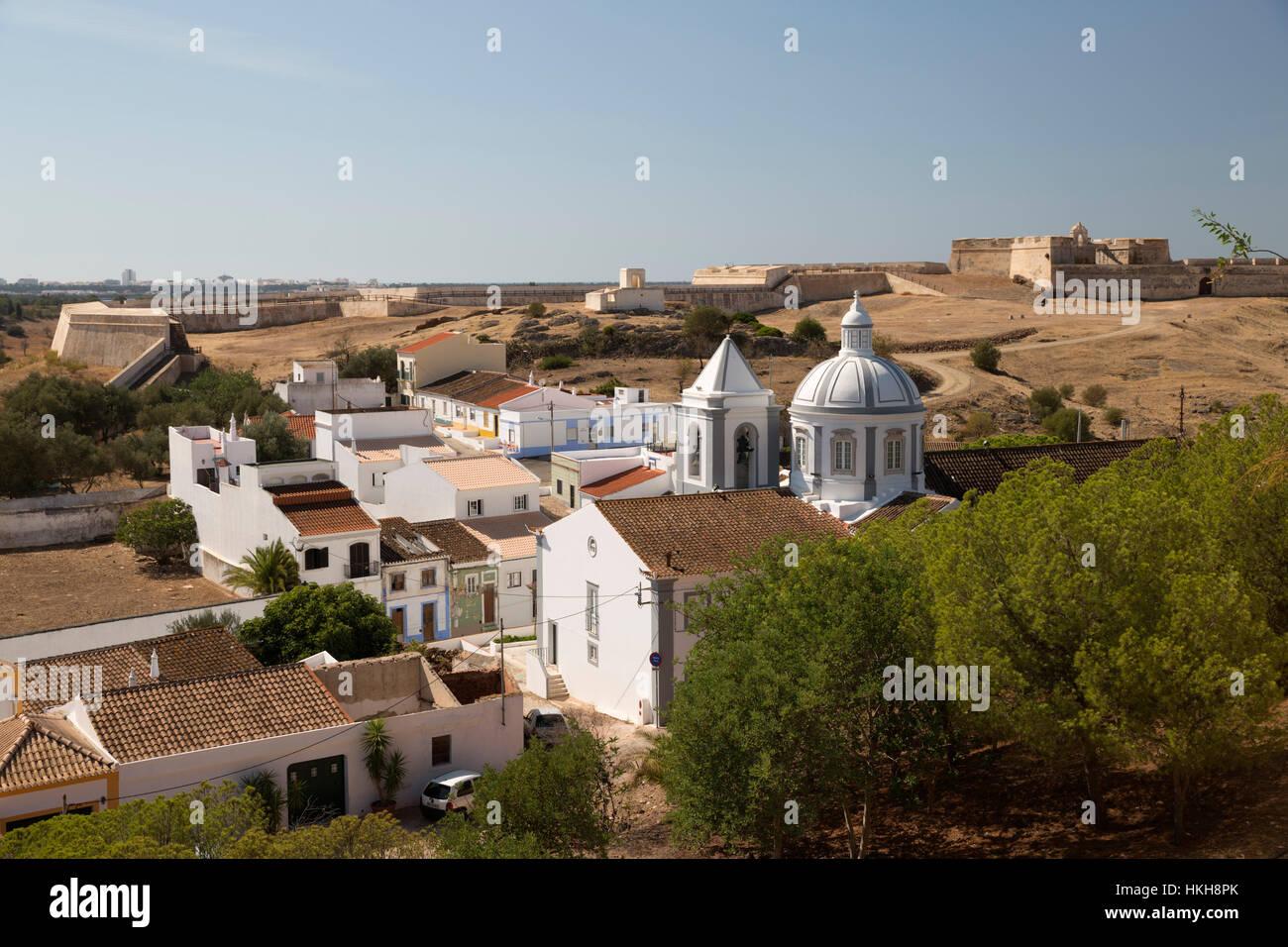 View over white town and 17th century Fortaleza de Sao Sebastiao castle, Castro Marim, Algarve, Portugal, Europe - Stock Image