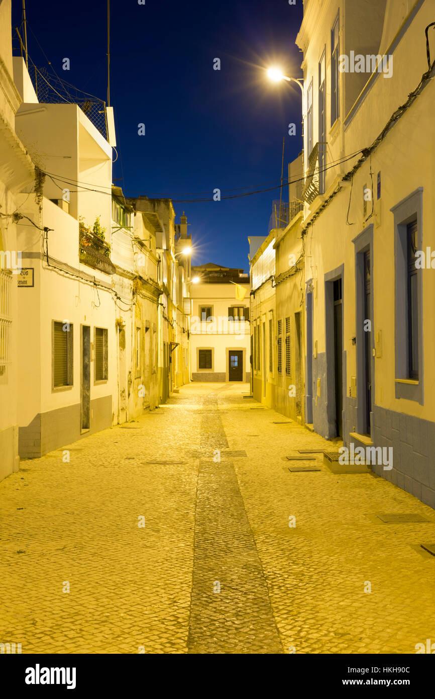 Fishermen's houses at night, Olhao, Algarve, Portugal, Europe Stock Photo