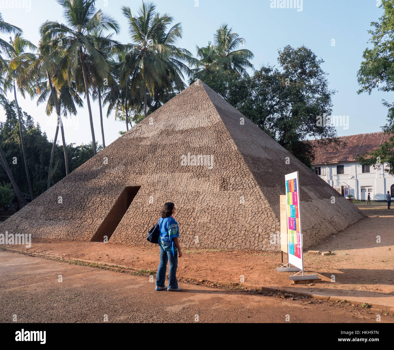 The Pyramid of Exiled Poets by Ales Steger at Kochi-Muziris Biennale in India Stock Photo