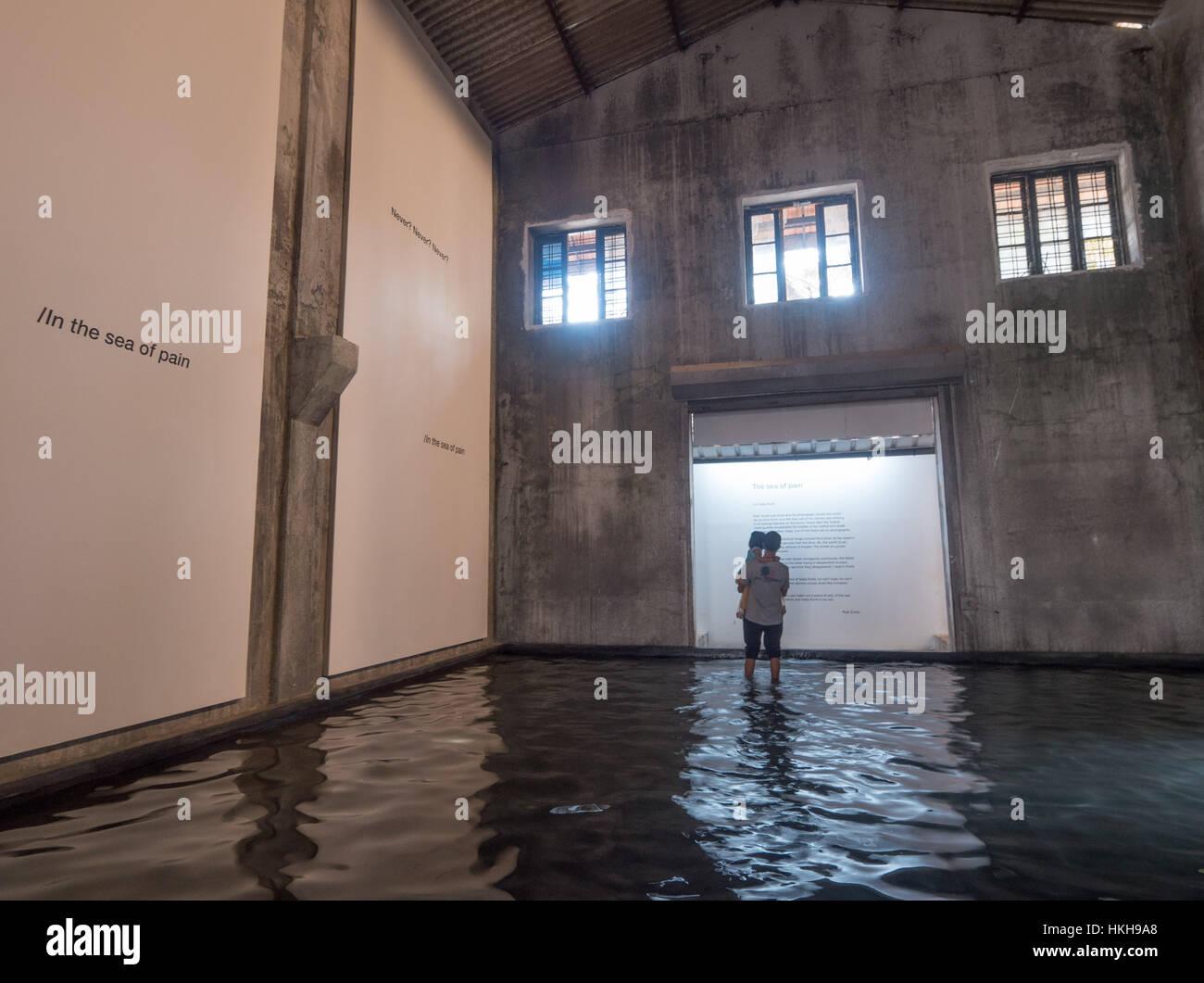 The Sea of Pain by Raul Zurita Aspinwall House at Kochi-Muziris Biennale in India - Stock Image