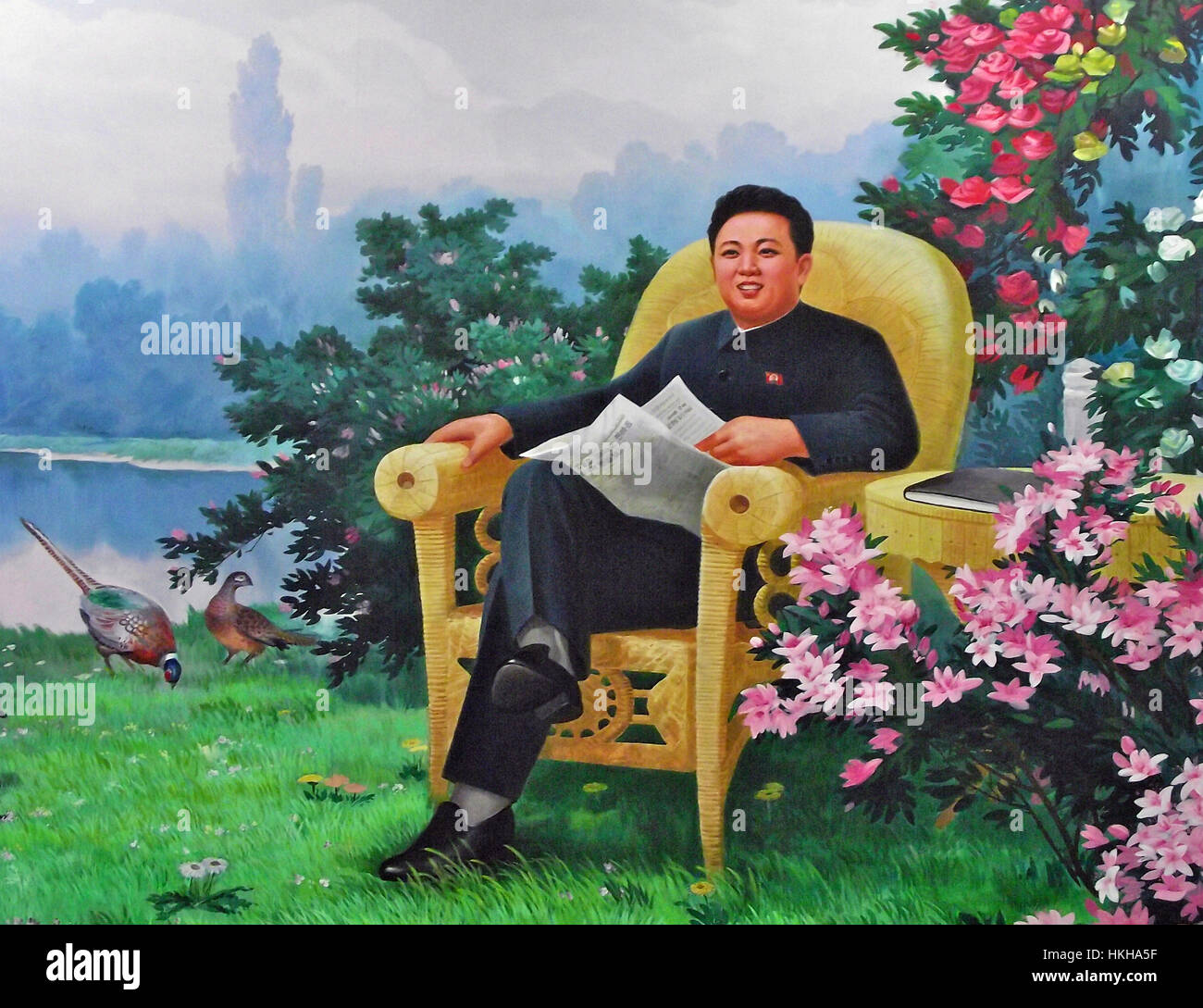 KIM JONG-il in a North Korean propaganda painting about 2008 - Stock Image