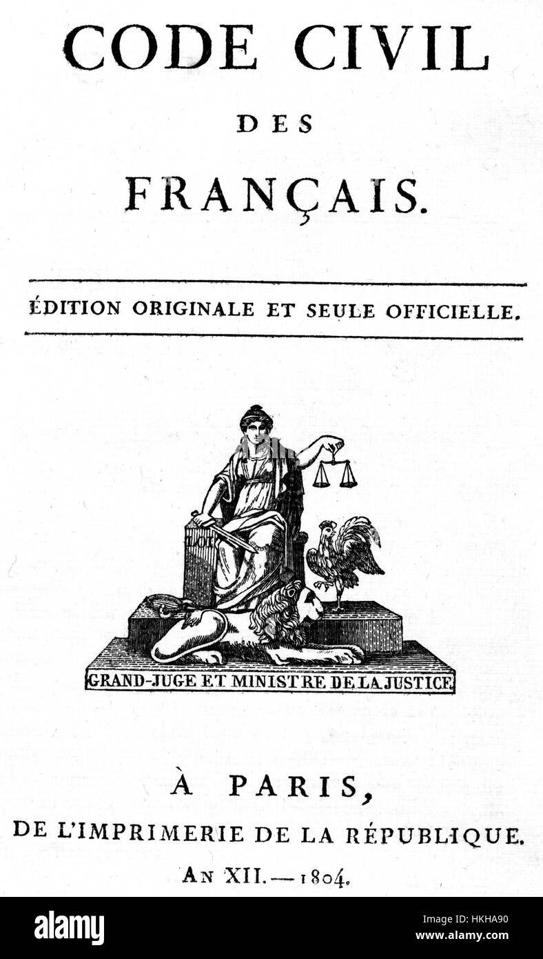 NAPOLEONIC CODE CIVILE  Frontestpiece of the first 1804 edition - Stock Image