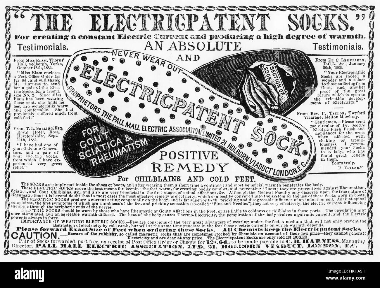 ELECTRICPATENT SOCKS 1884 advert for a a product of the Pall Mall