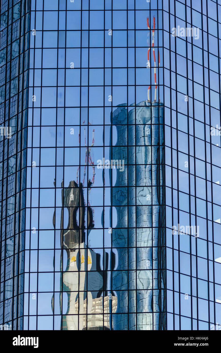 Frankfurt am Main: Commerzbank Tower and Maintower are reflected in one of the Deutsche Bank towers, Banken, Hessen, Stock Photo
