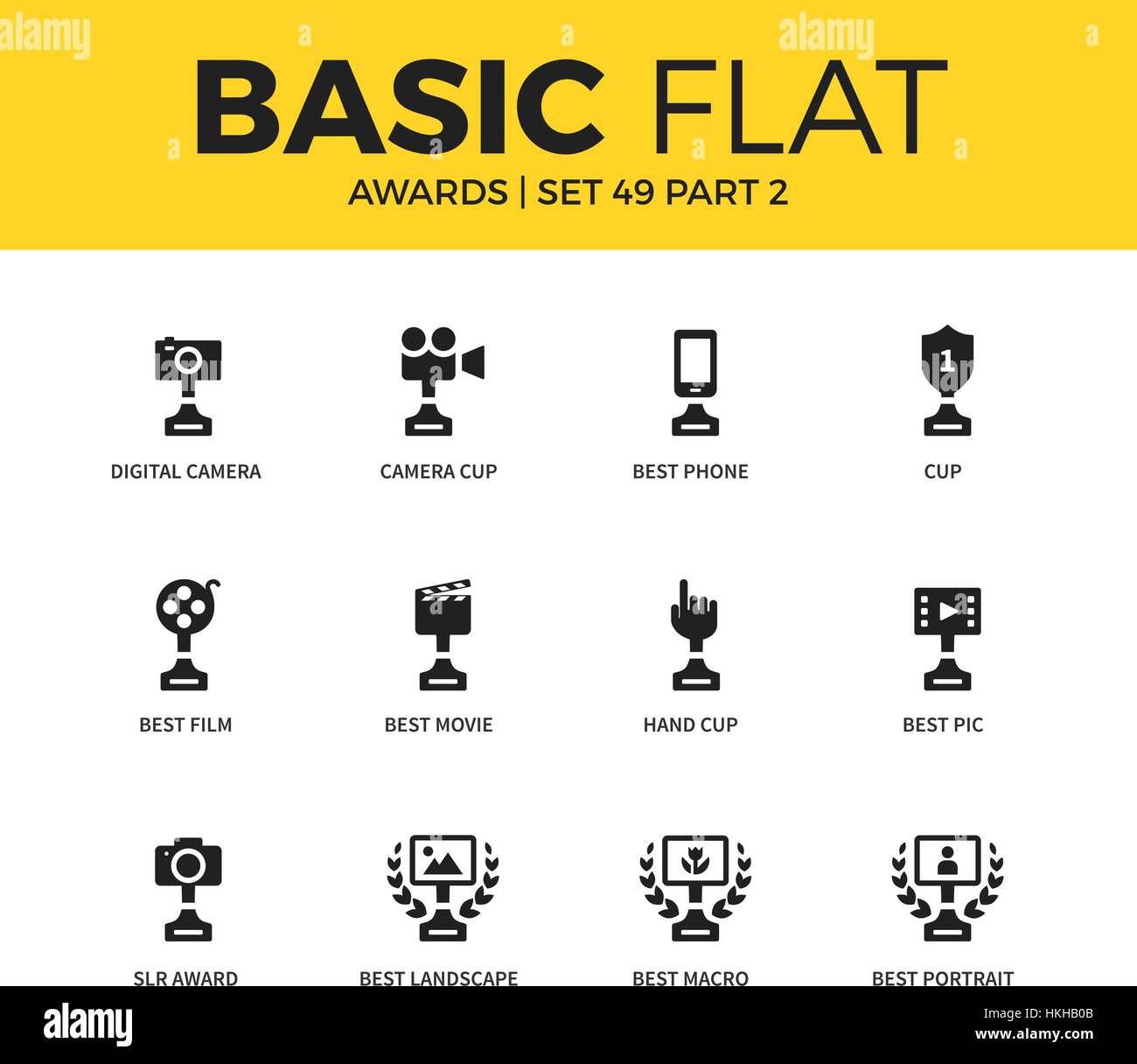 Basic set of video Awards icons - Stock Vector