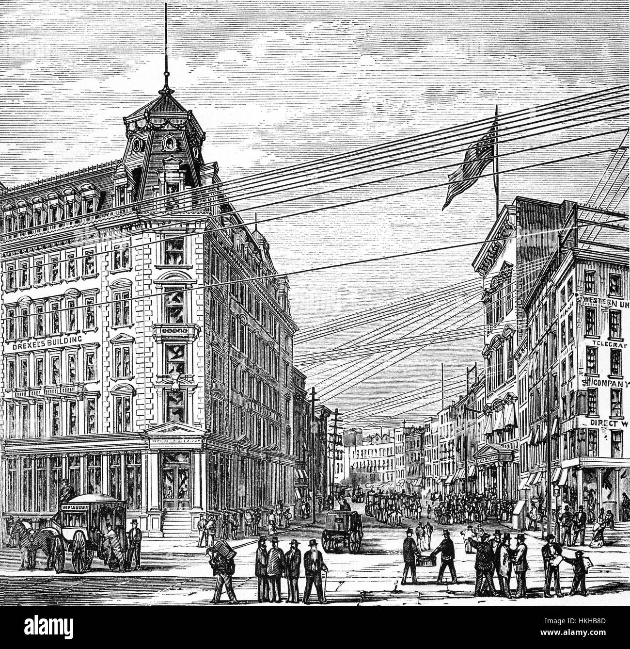 1879: The corner of Broad Street and Wall Street with Drexel's Building and  the Stock Exchange, New York City, United States of America.