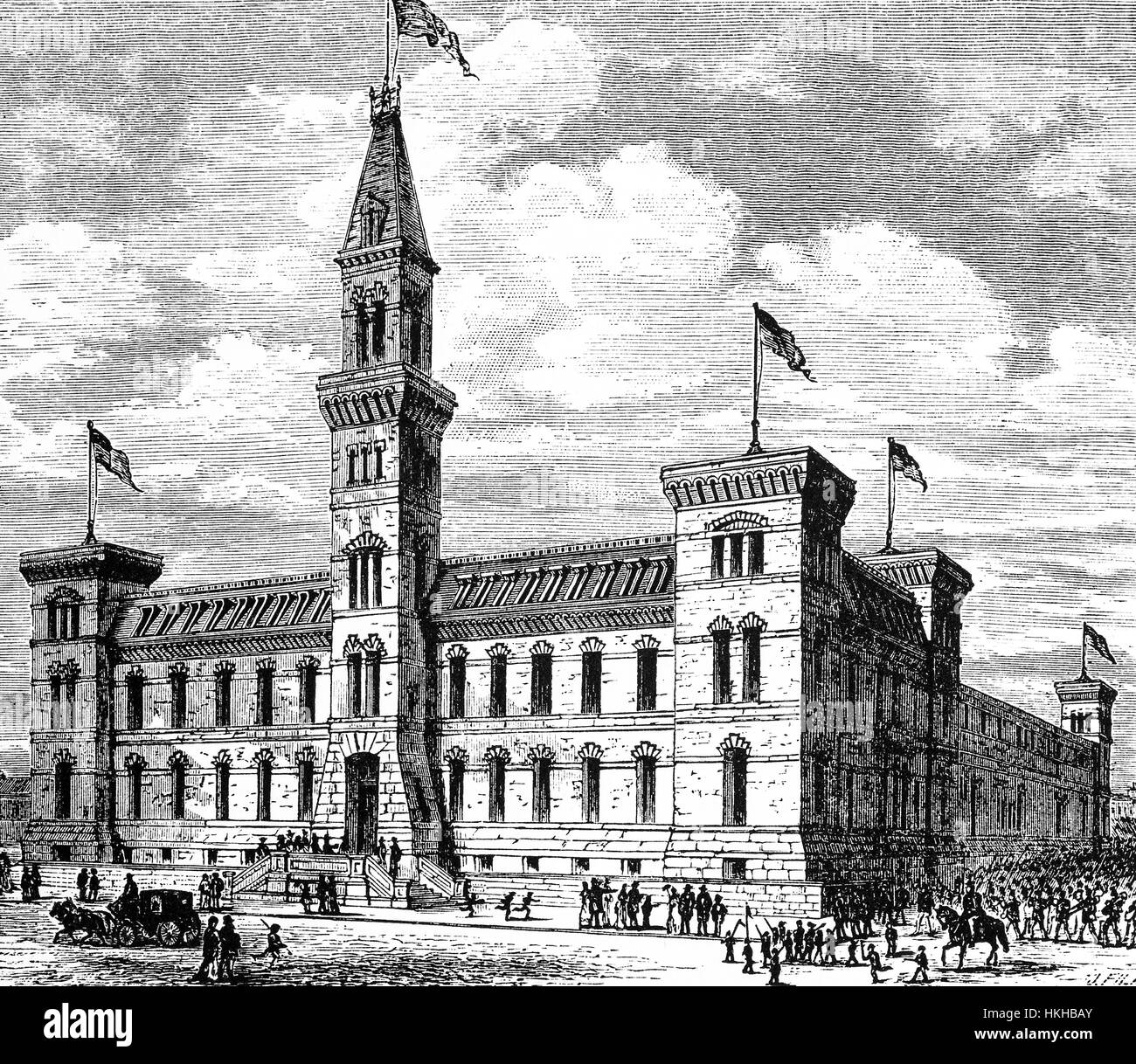 1879: The Seventh Regiment Armory, also known as Park Avenue Armory, is a historic brick building that fills an - Stock Image
