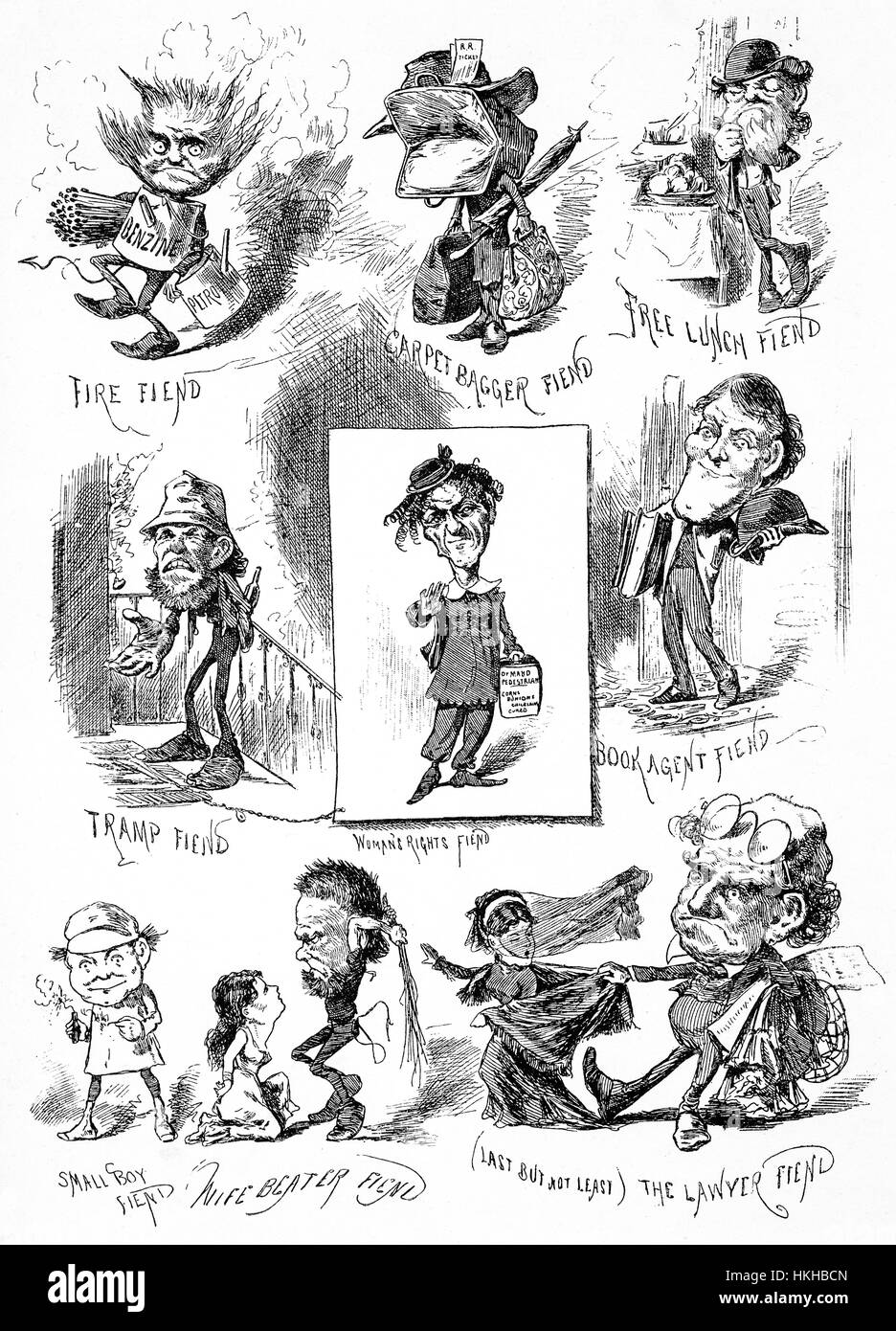1879: A selection of caricatures of well known and dubious New York types of the late 19th Century,New York City, - Stock Image