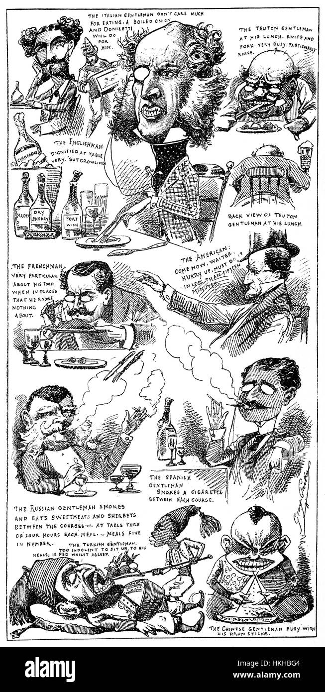 1879: A selection of Caricatures of different immigrant nationalities indulging in 'Eating as a Fine Art', - Stock Image