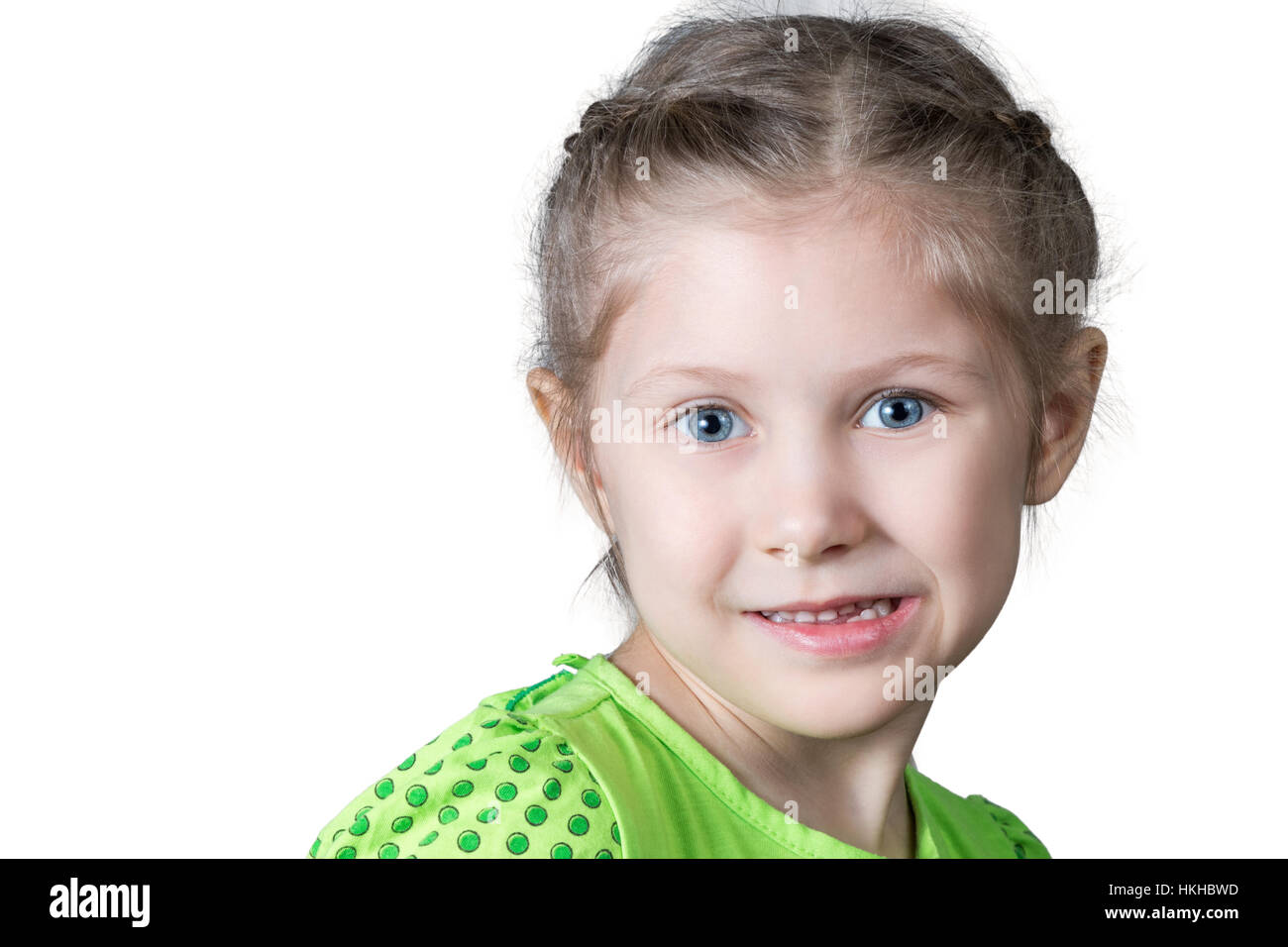 Portrait of grimacing girl closeup - Stock Image