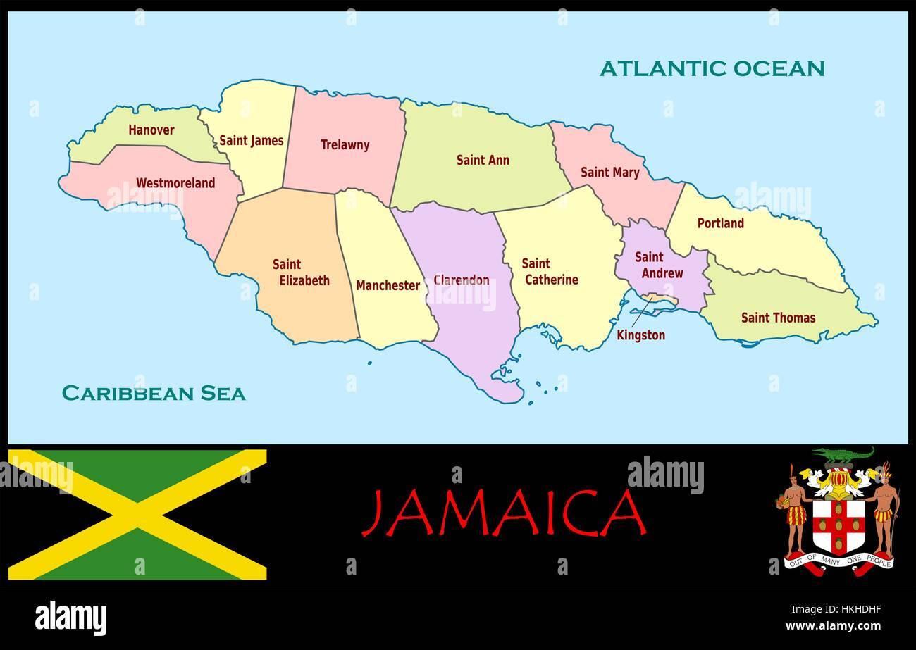 Jamaica administrative divisions Stock Photo