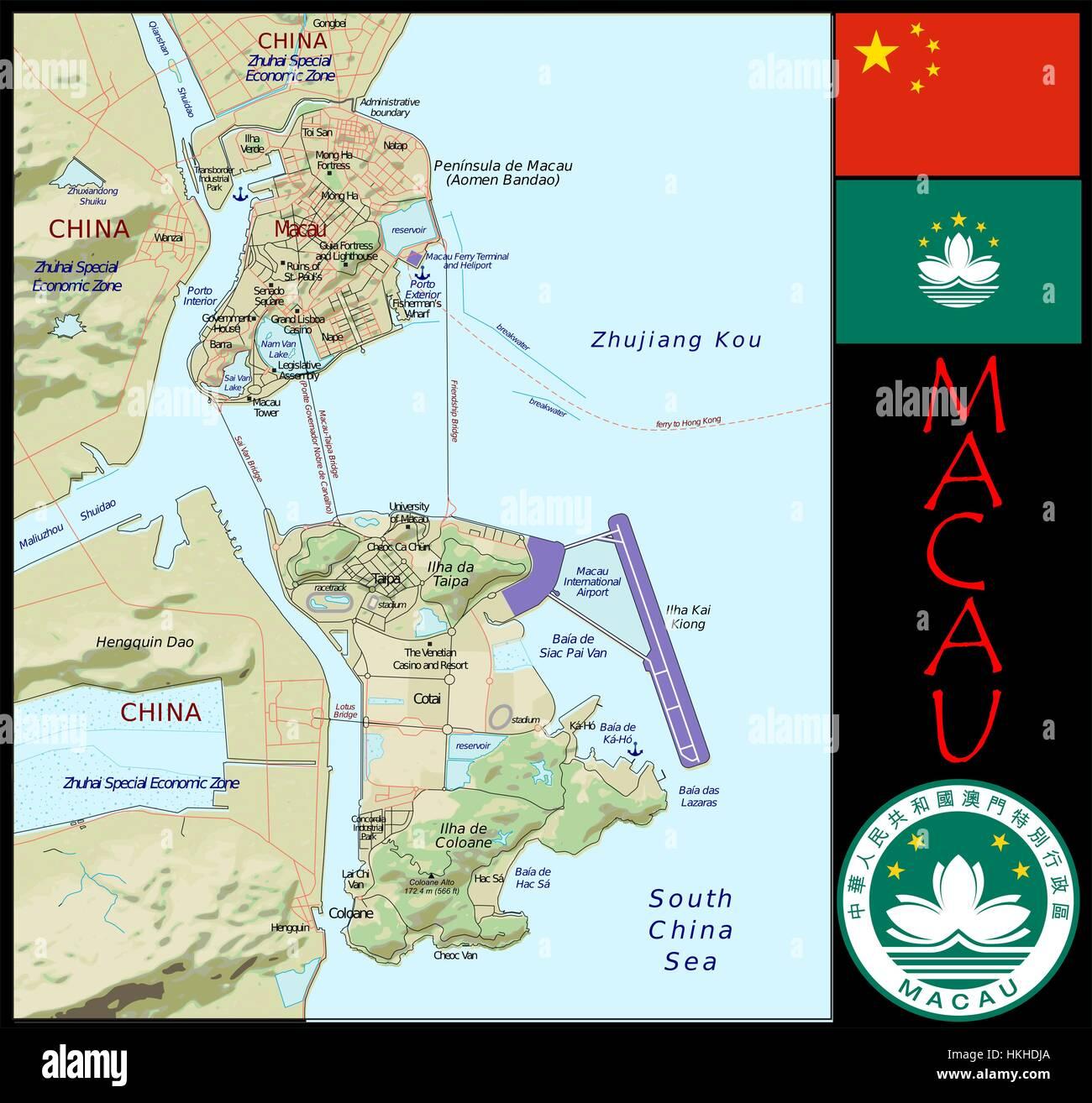 Macau administrative divisions - Stock Image