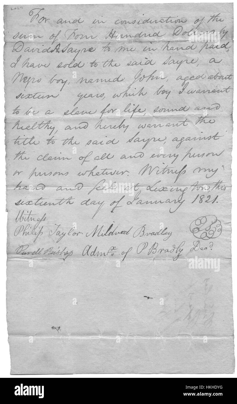 A hand written bill of sale for a slave, a 16 year old boy named John, for $400, the previous owner certified that - Stock Image