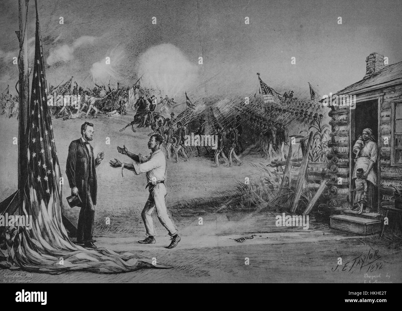 Illustration depicting a a slave with shackles on the ground behind him, his family looking on, appealing to Abraham Lincoln with a Civil War battle scene behind them, titled 'Appealing to be allowed to help fight for the Union', by James Earl Taylor, 1892. From the New York Public Library. Stock Photo