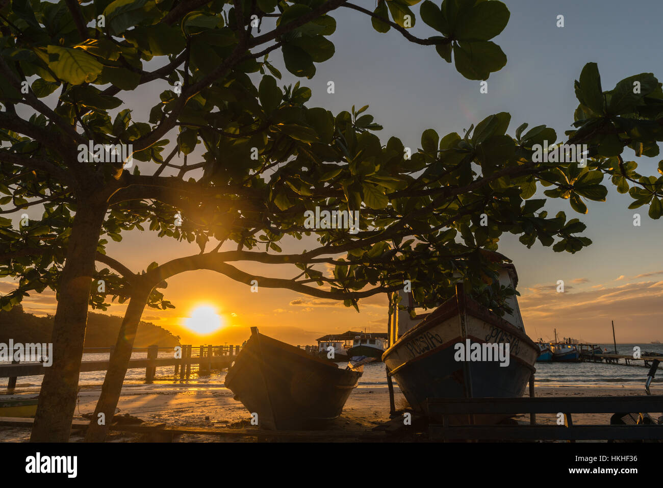 Sunset at the beach of the village Encantadas, Ilha do Mel, Honey Island, Paraná state, Brazil, South America - Stock Image