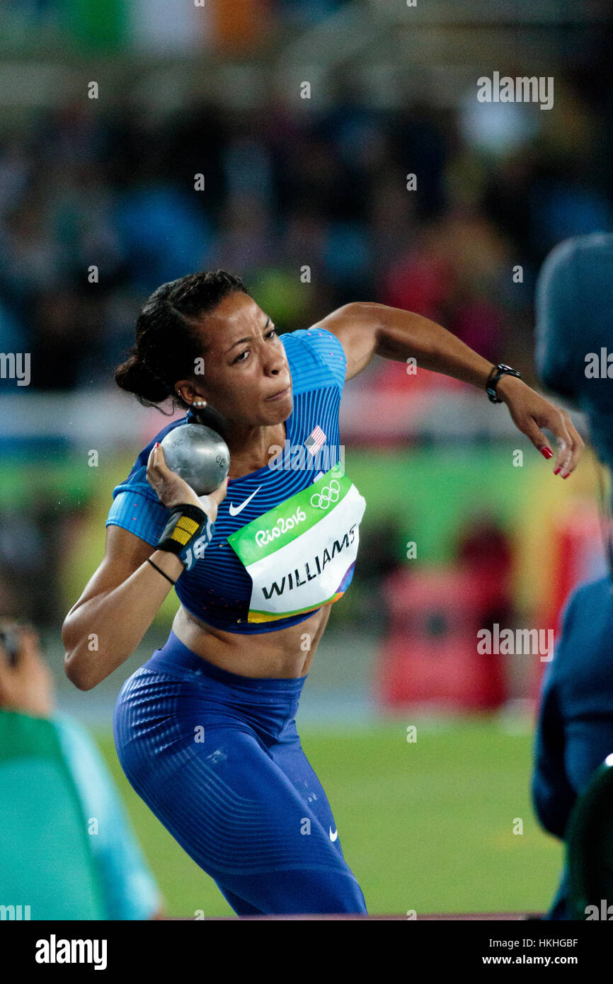 Rio de Janeiro, Brazil. 12 August 2016.  Athletics, Kendell Williams (USA) competing in the Women's Heptathlon - Stock Image