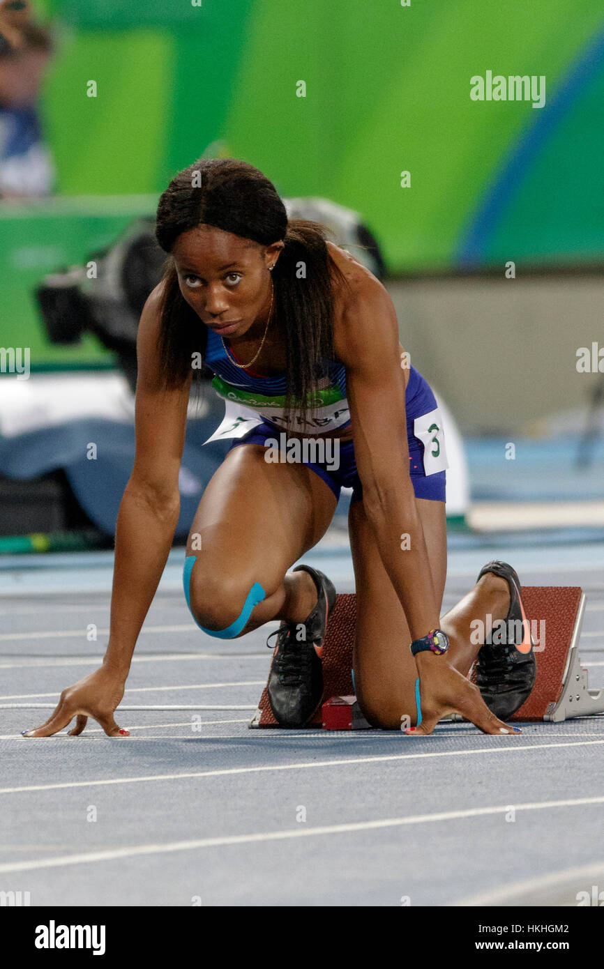 Rio de Janeiro, Brazil. 12 August 2016.  Athletics, Barbara Nwaba (USA) competing in the Women's Heptathlon - Stock Image