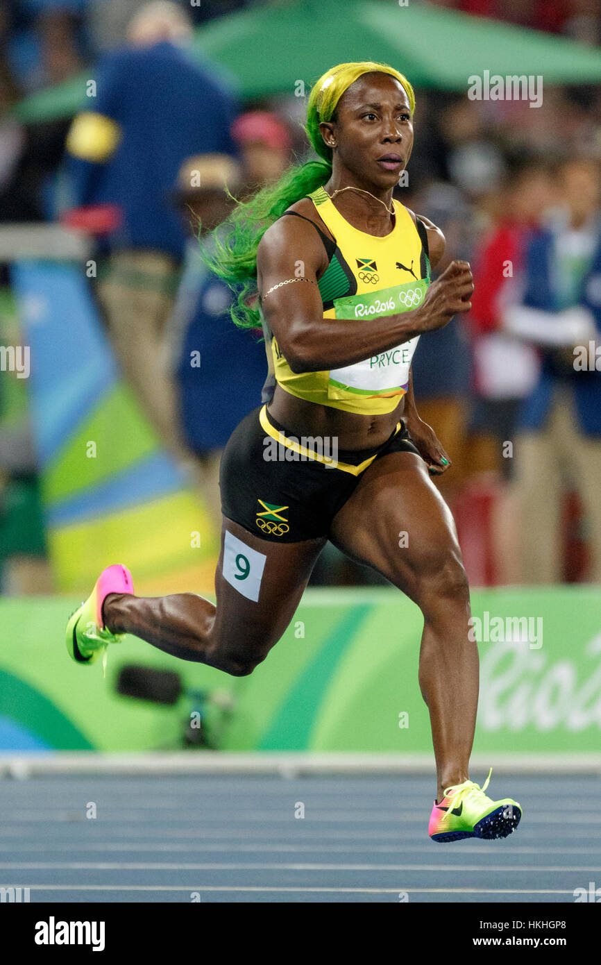 Rio de janeiro brazil 12 august 2016 athletics shelly ann stock rio de janeiro brazil 12 august 2016 athletics shelly ann fraser pryce jam competing in the womens 100m heats at the 2016 olympic summer game thecheapjerseys Images