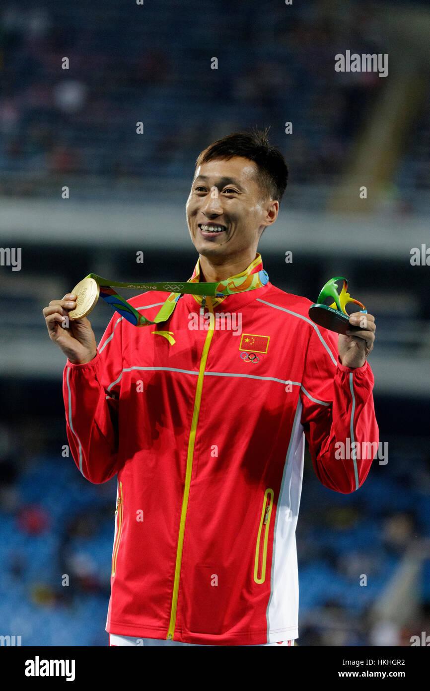 Rio de Janeiro, Brazil. 12 August 2016.  Zhen Wang (CHN) gold medal winner in the Men's 20km Walk at the 2016 Olympic Stock Photo