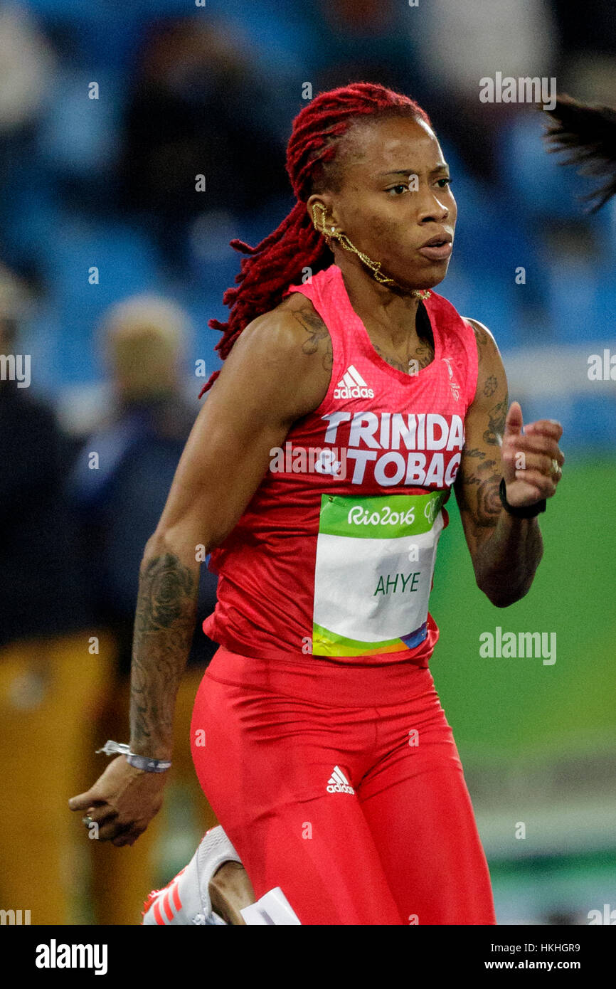 Rio de Janeiro, Brazil. 12 August 2016.  Athletics, Michelle-Lee Ahye (TRI)  competing in the women's 100m heats - Stock Image