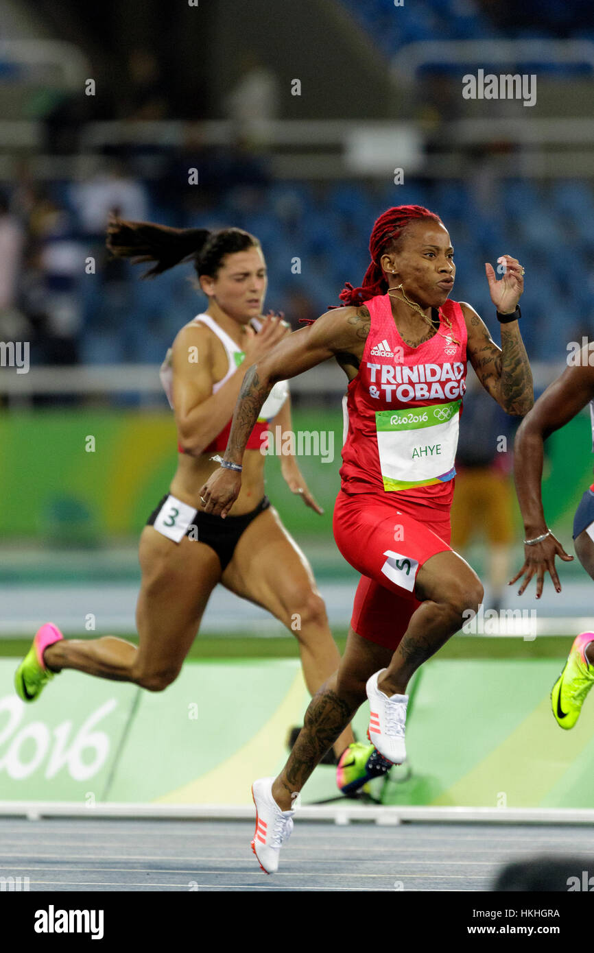 Rio de Janeiro, Brazil. 12 August 2016.  Athletics, Michelle-Lee Ahye (TRI)  competing in the women's 100m heats - Stock Image
