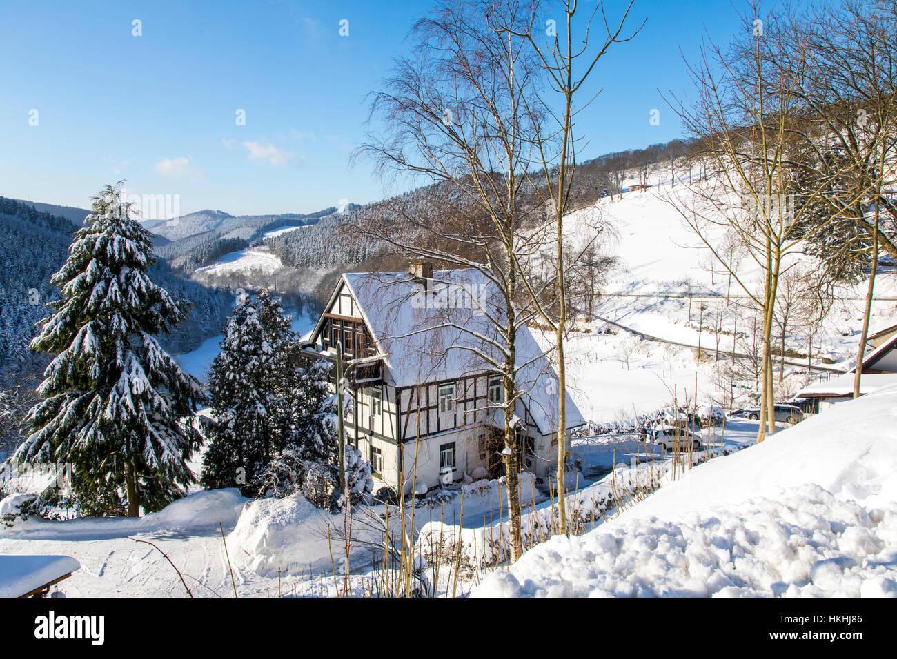 winter time in the Sauerland area, Germany, snow covered forest, Nordenau - Stock Image