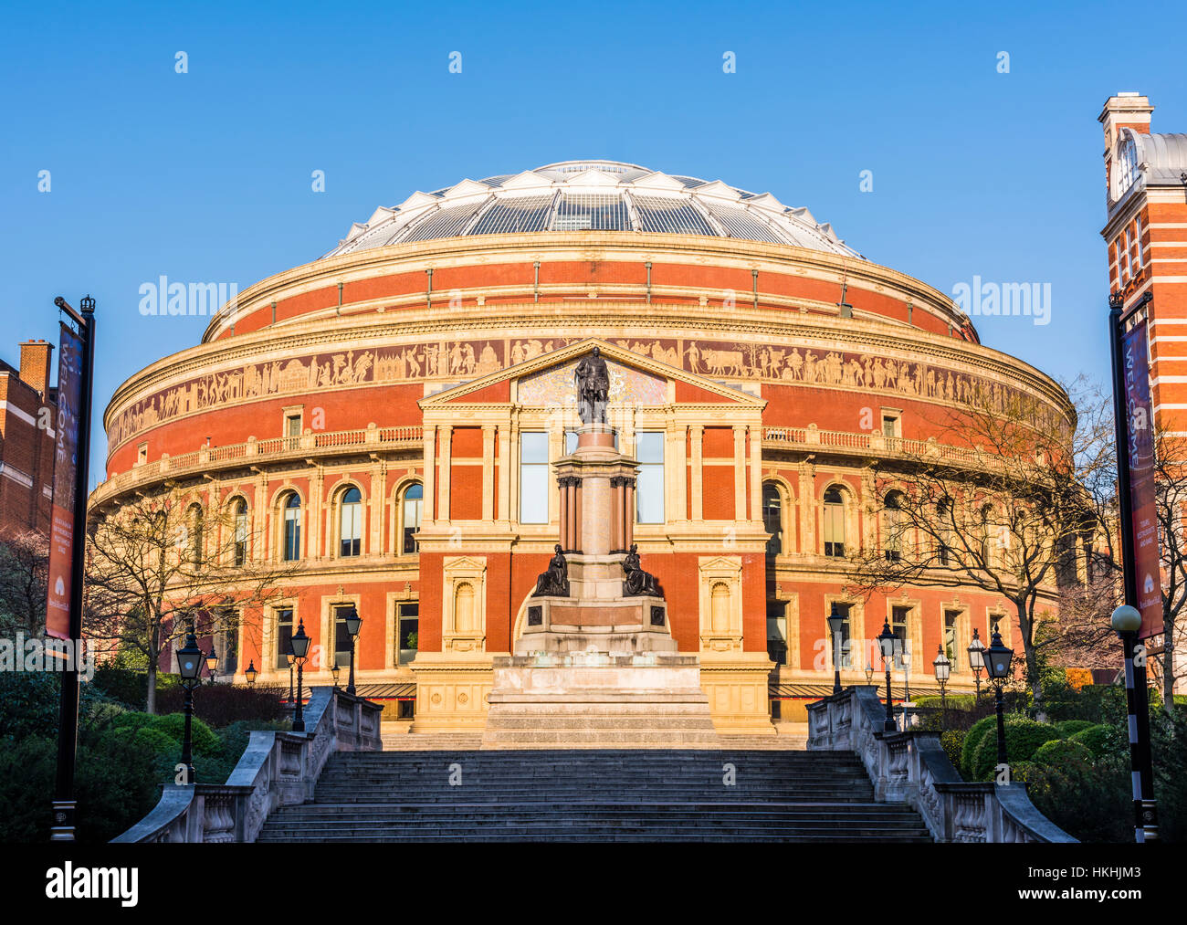 Winter sun on the wonderful Royal Albert Hall, London, UK - Stock Image