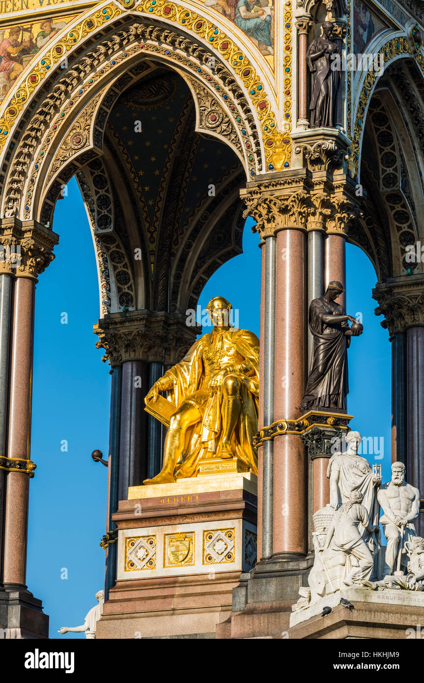 Winter sun on the Albert Memorial, Hyde Park, London, UK - Stock Image