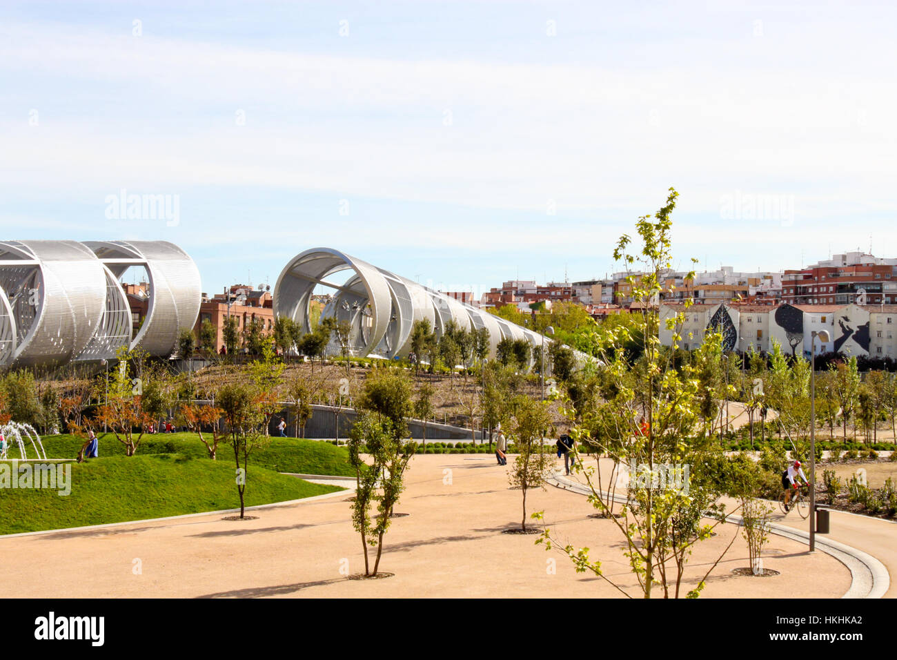 Madrid, Spain - April 20, 2013: Arganzuela Bridge (designed by Dominique Perrault) and Madrid Rio Park . - Stock Image