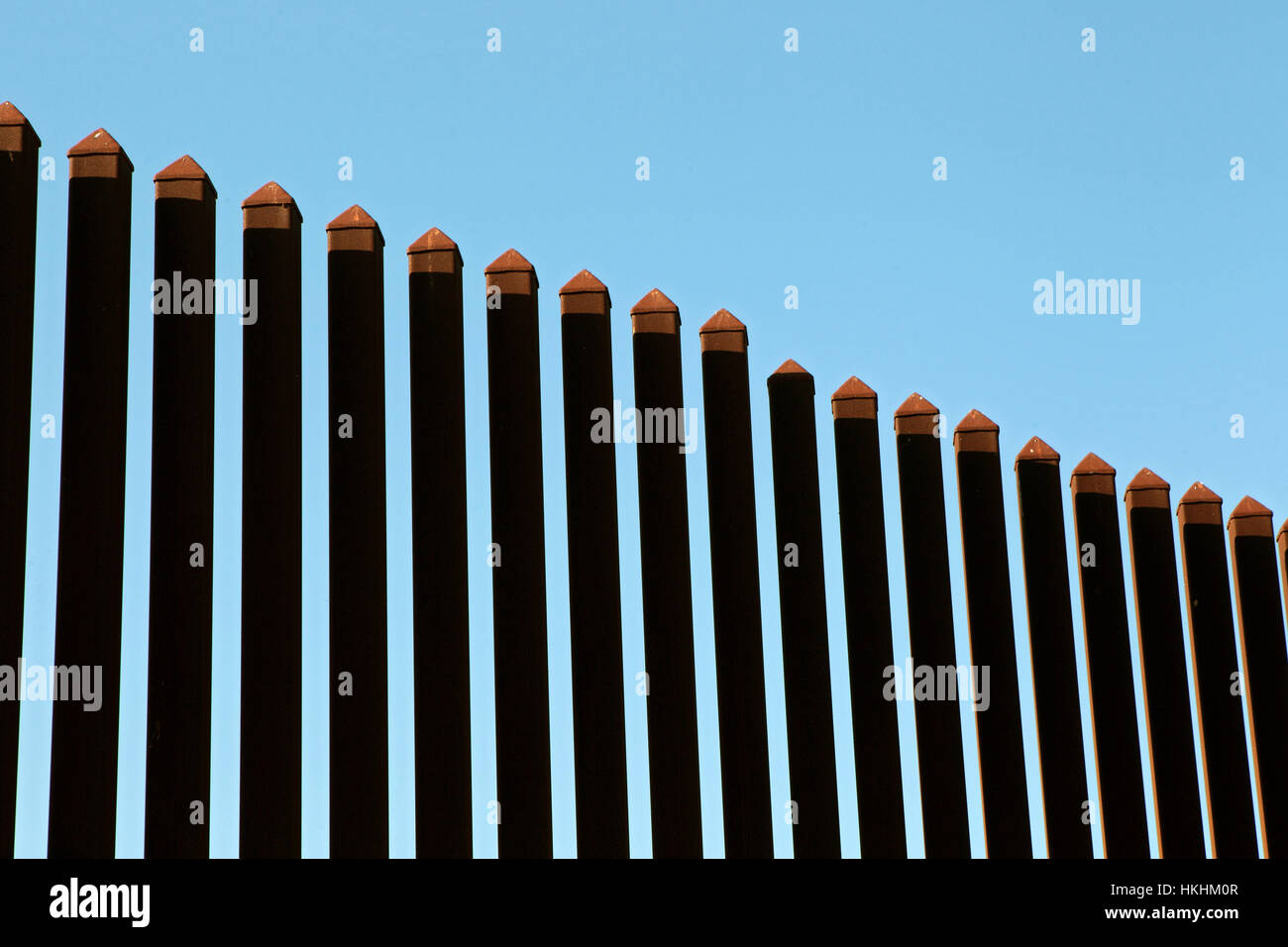 Border fence along the Texas-Mexico border near Brownsville, Texas. Stock Photo