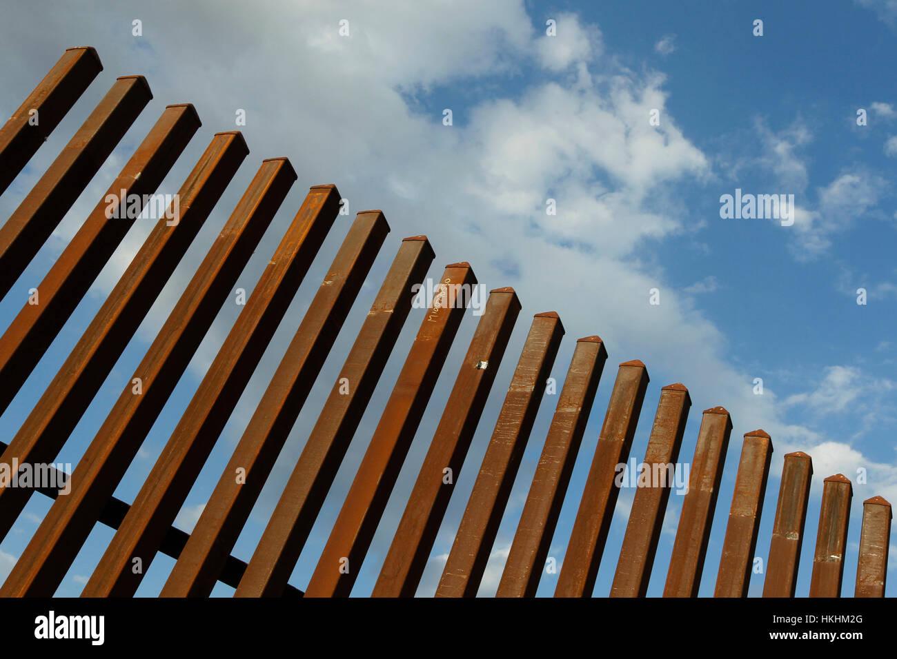 Border fence along the Texas-Mexico border near McAllen, Texas. Stock Photo