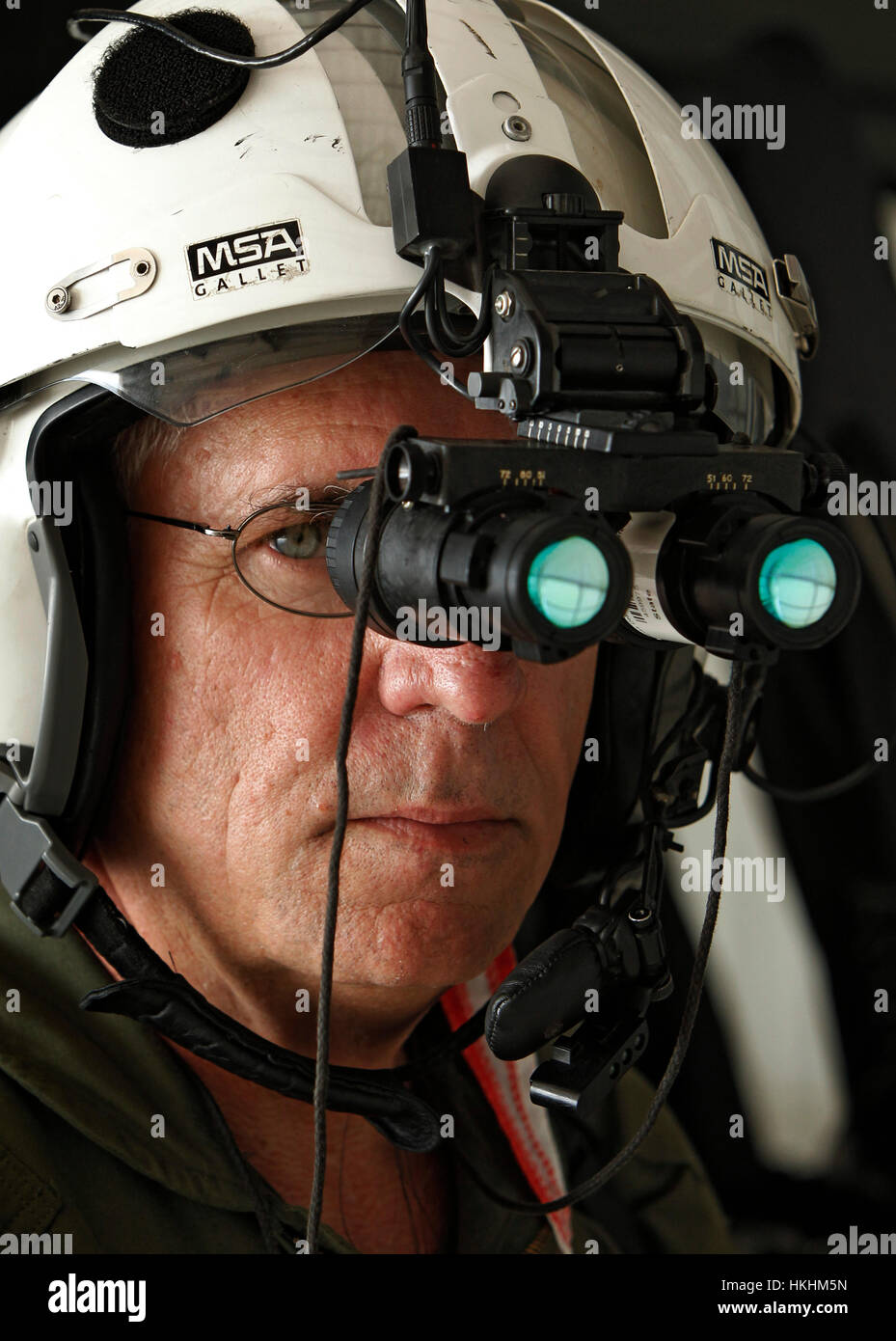 10/13/11 -  Texas Department of Public Safety pilot Lt. Johhny Prince II shows the night vision goggles he wears Stock Photo