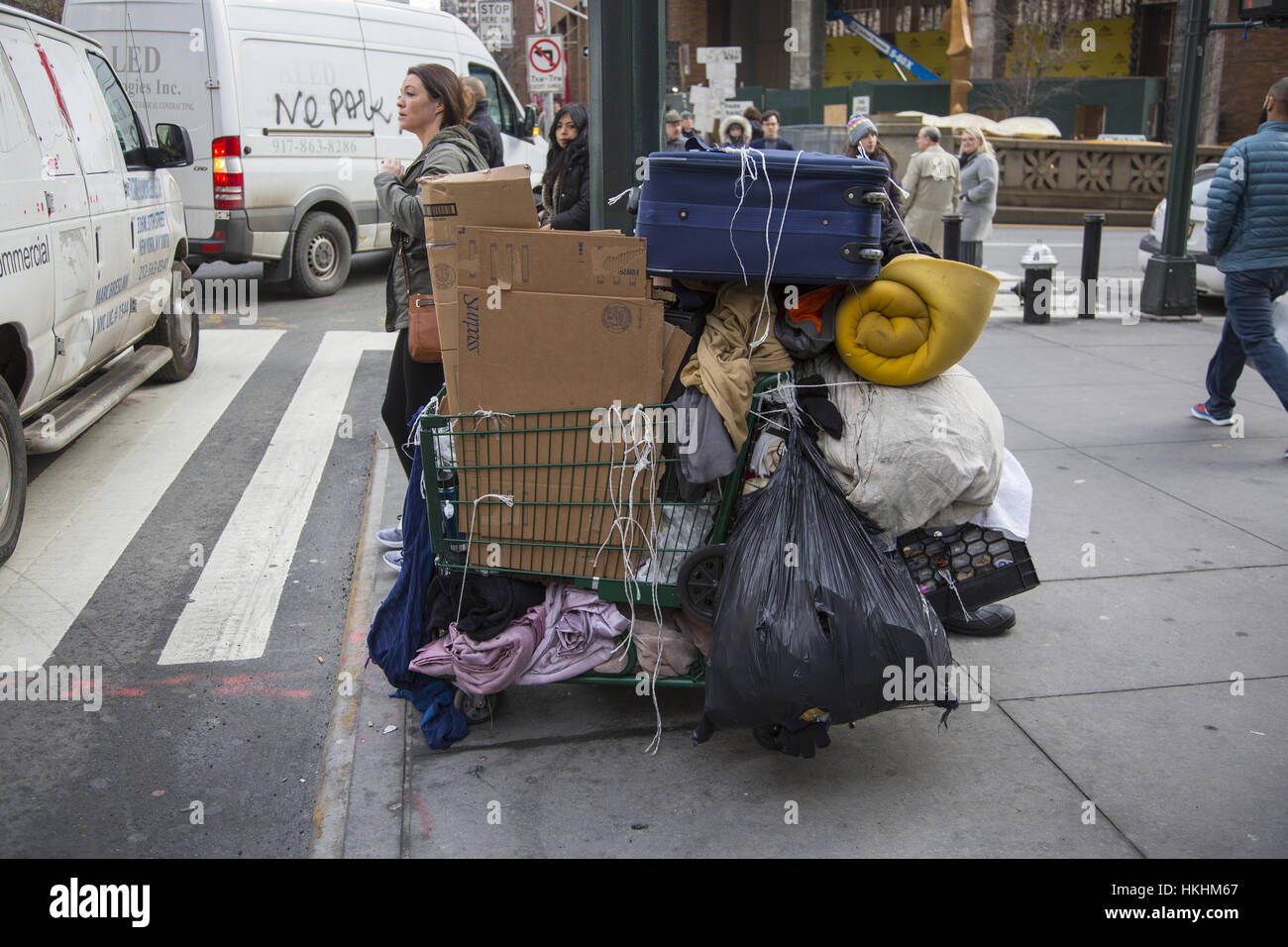 Possessions of a homeless man on 34th Street in Manhattan, NYC. Stock Photo
