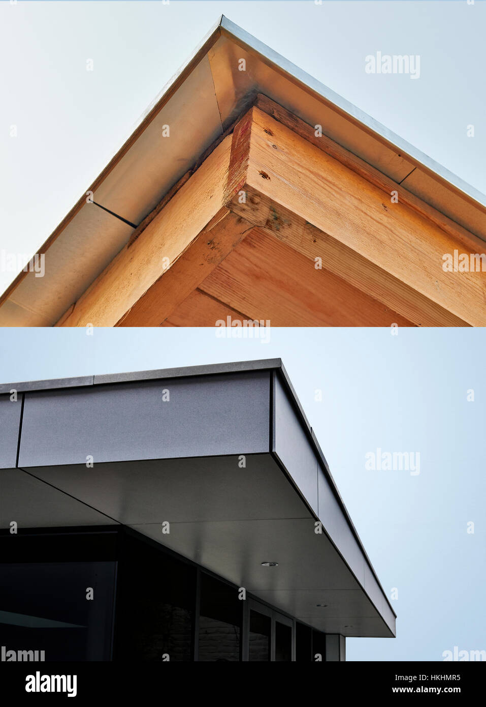 Roof Under Construction With Wood Frame And Zinc   Exterior Cladding Of The  Residential Building
