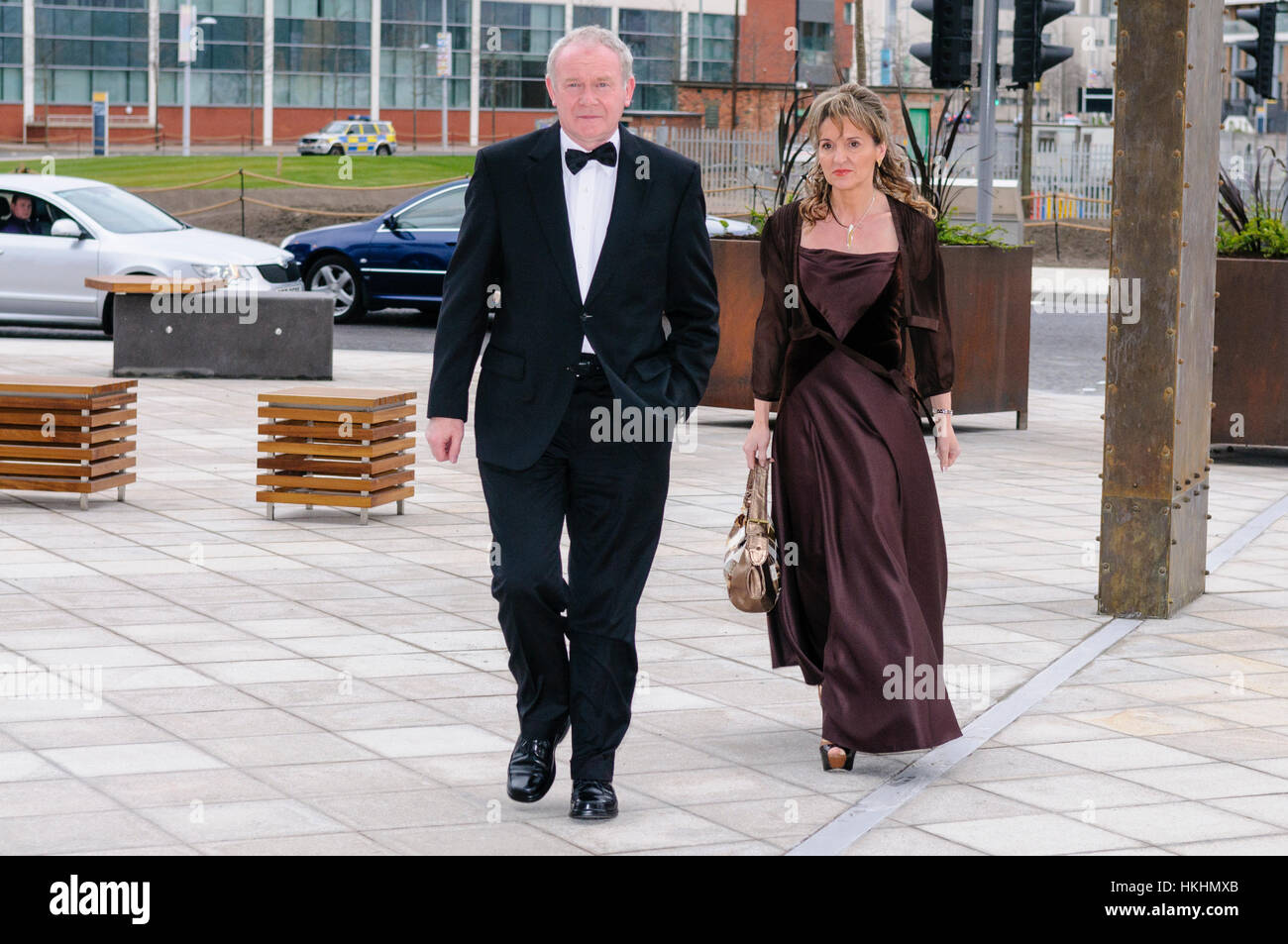 Belfast, UK. 30/03/2012 - Martin McGuinness and Martina Anderson (Sinn Fein) arrive at Belfast's  £97M - Stock Image