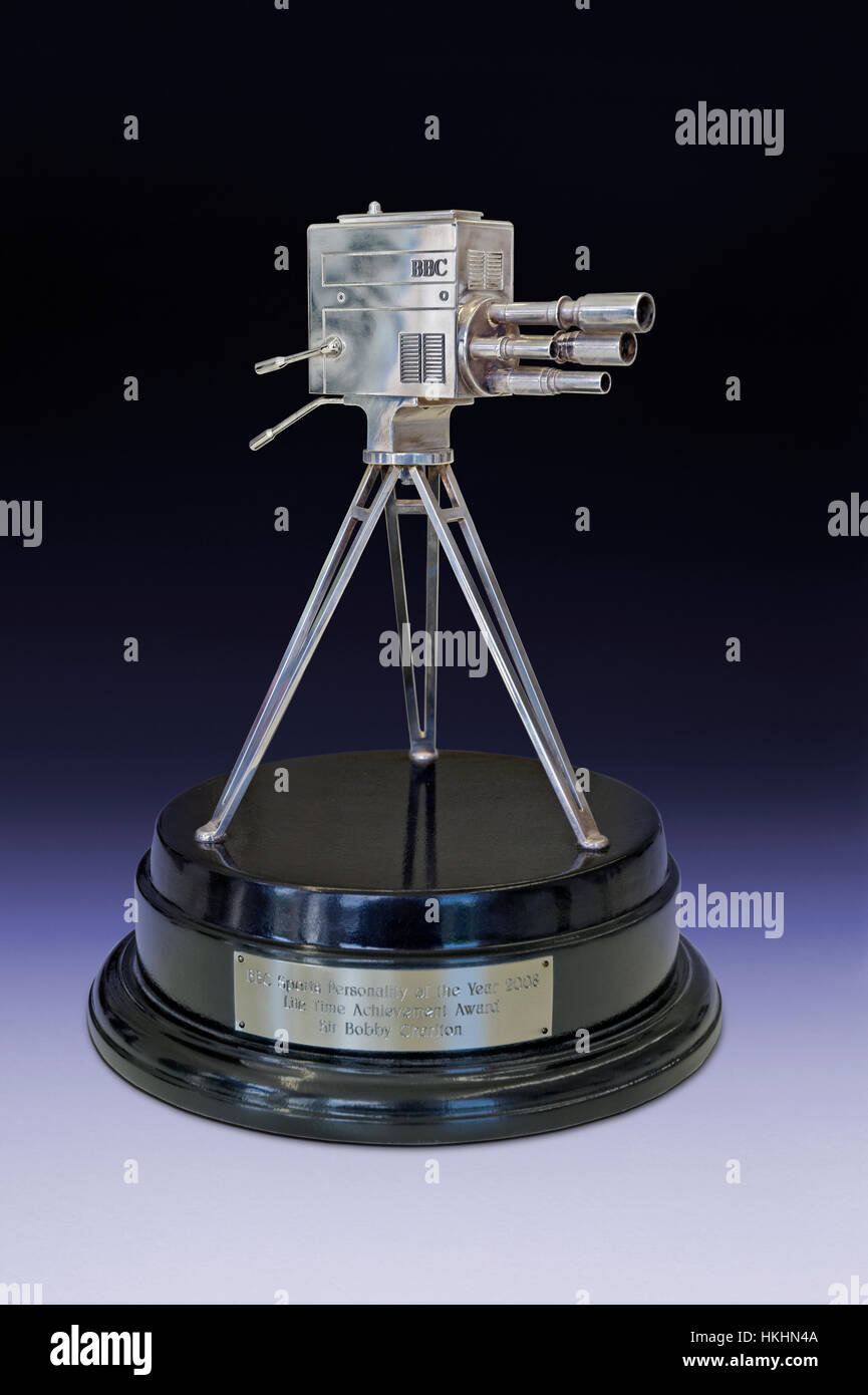 BBC Sports Personality of the Year Lifetime Achievement Award 2008 given to Sir Bobby Charlton and presented by - Stock Image