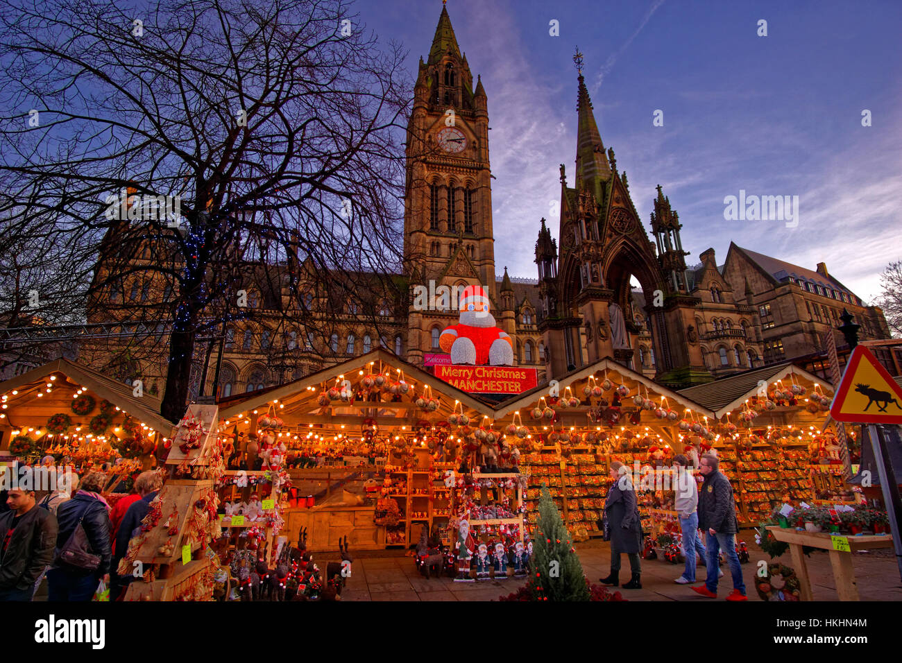 Manchester Christmas Market and Town Hall at Albert Square, Manchester Town Centre, Greater Manchester. England. - Stock Image