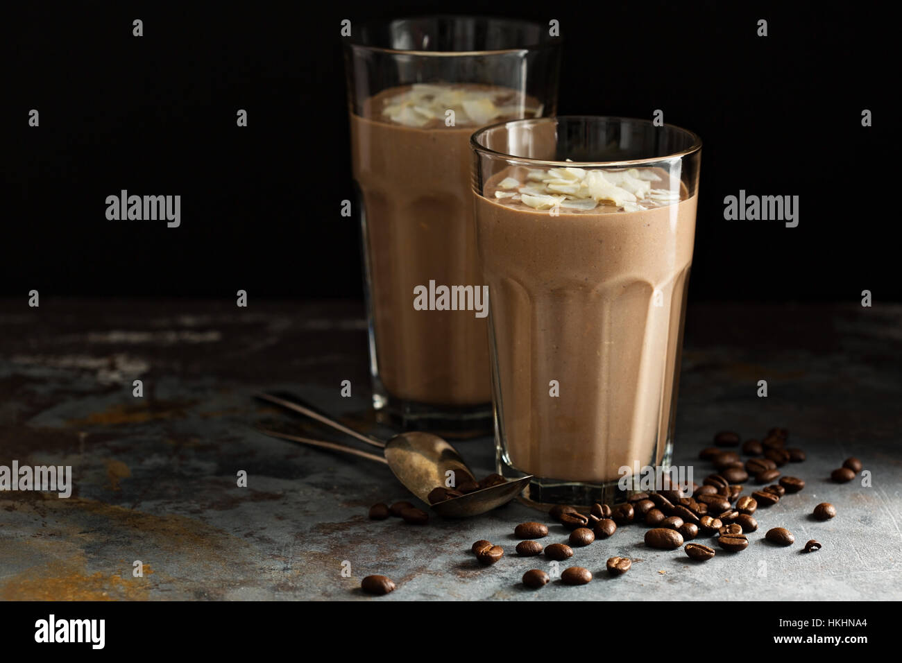 Coffee smoothie with coconut - Stock Image