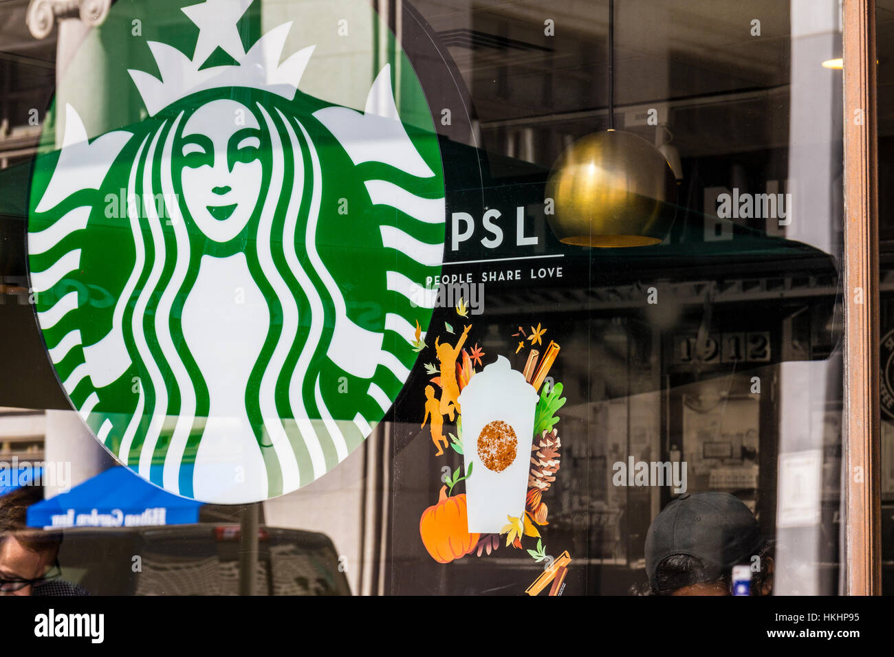 Indianapolis - Circa September 2016: Starbucks Retail Coffee Store. Starbucks is Serving Pumpkin Spice Lattes VI - Stock Image