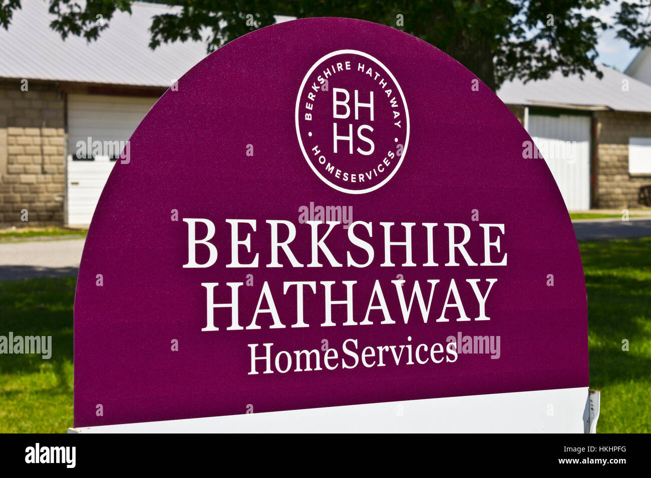 Lafayette, IN - Circa July 2016: Berkshire Hathaway HomeServices Sign. HomeServices is subsidiary of Berkshire Hathaway - Stock Image